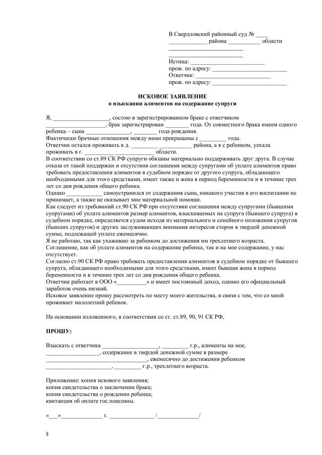 Исковое заявление об алиментах на супруга: образец 2021 года